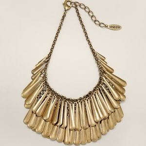 NEW Chico's Gold Layered Bib Necklace